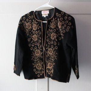 Steven Chu Beaded Sweater Factory Black and Gold
